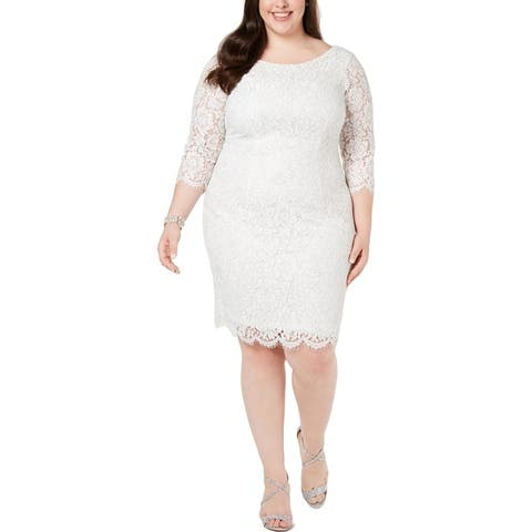 Adrianna Papell Womens Plus Cocktail Dress Metallic Lace - Ivory