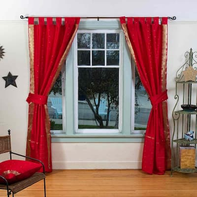 Indo Fire Brick Tab Top Sari Sheer Curtain (43 in. x 84 in.) w/ matching tieback - 43 X 84 Inches (109 X 213 Cms)