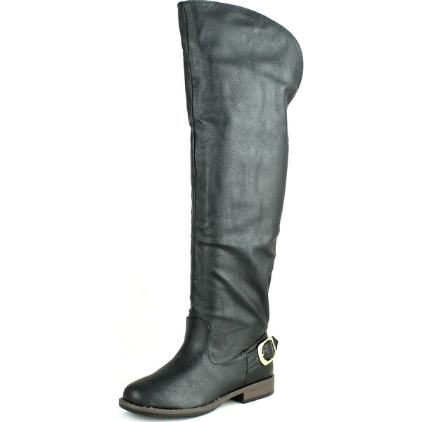 Bamboo Womens Montage-80X Over The Knee Buckle Riding Boots - Black - 6.5 b(m) us