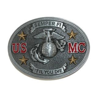 CTM® Semper Fi US Marine Corps Belt Buckle - Silver - One Size