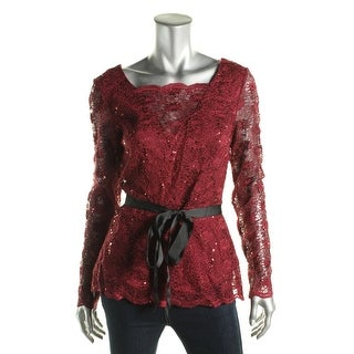 Onyx Nite Womens Cowl Back Sequined Blouse - M
