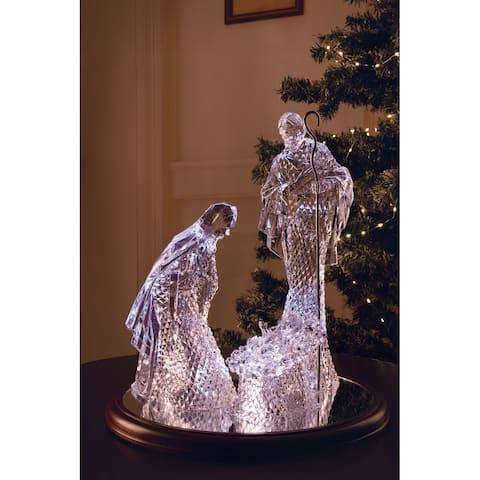 "Set of 2 Clear Large Diamond Cut Holy Family Nativity Tabletop Decor 16"""