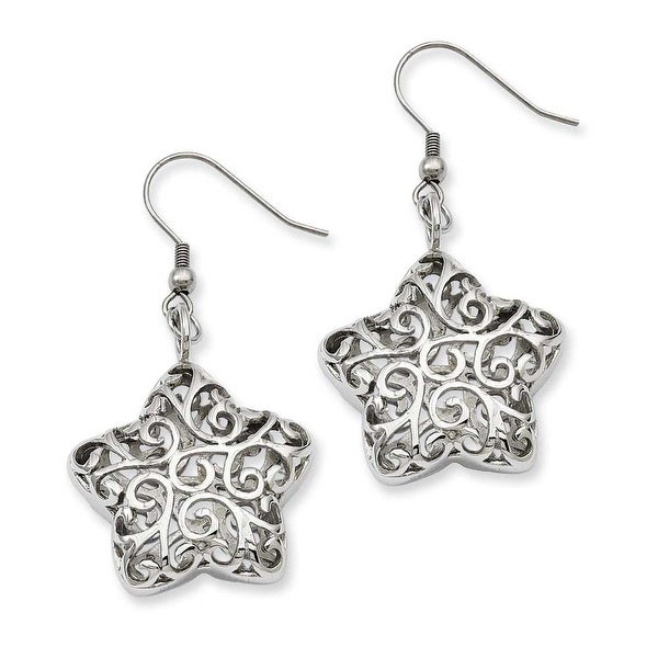Stainless Steel Puffed Star Dangle Earrings