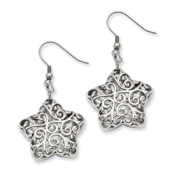 Stainless Steel Puffed Star Dangle Earrings