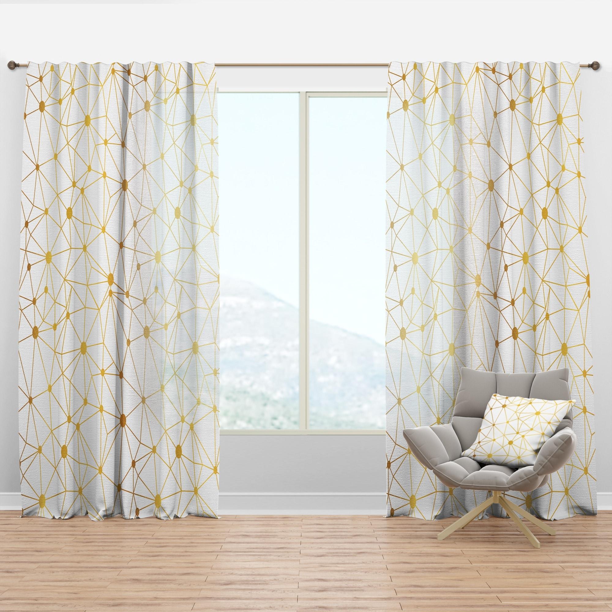 Image of: Shop Black Friday Deals On Designart Golden Grid I Mid Century Modern Curtain Panel Overstock 29626275