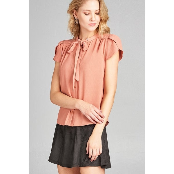 Ladies Fashion Tulip Sleeve V-Neck Self Tie W Eyelet Detail Front Button  Woven 16316289da