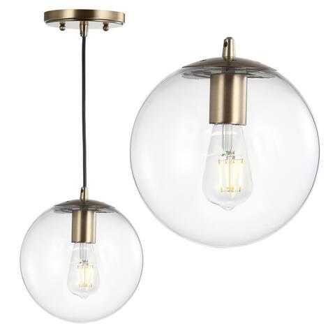 "Bleecker 7.75"" Metal/Glass Globe LED Pendant, Clear/Brass by JONATHAN Y"