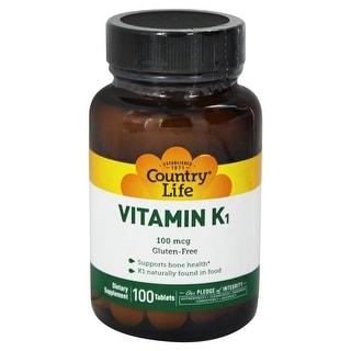 Country Life Vitamin K1 100 mcg Tabs, 100 ct