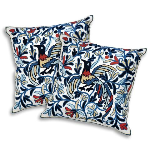 Handmade Mystical Peacock Decorative Embroidery Throw Pillow Cover Set of 2 (Thailand)