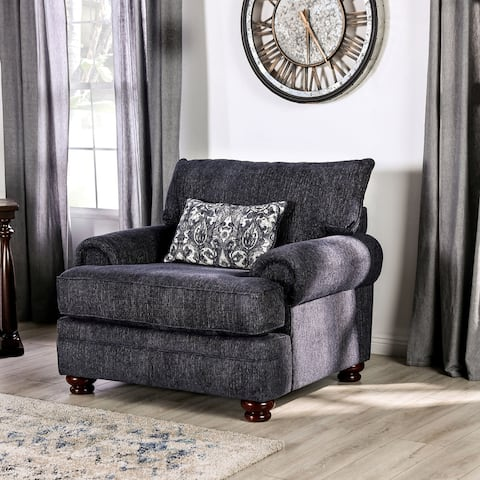 Furniture of America Slay Transitional NavyBlue Chenille Chair