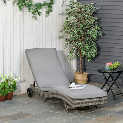 Outsunny Outdoor PE Rattan Patio Chaise Lounge Chair with 5 Backrest Angles & 2 Wheels for Easy Movement, Grey