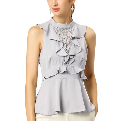 Allegra K Women's Ruffle Lace Front Cut-out Sleeveless Peplum