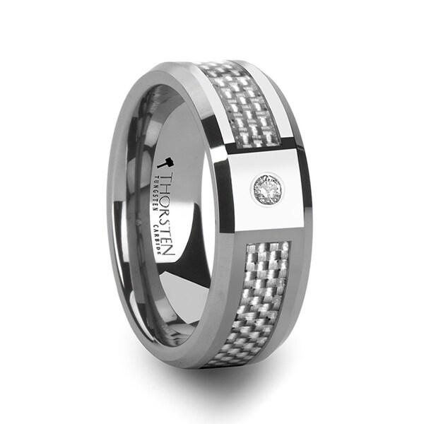 Royce Tungsten Wedding Band With White Carbon Fiber And White Diamond Setting