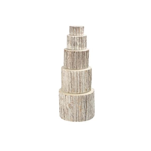 "5pc Natural Bark Wrapped Birch Riser and Planter Set 12""- Whitewash - N/A"
