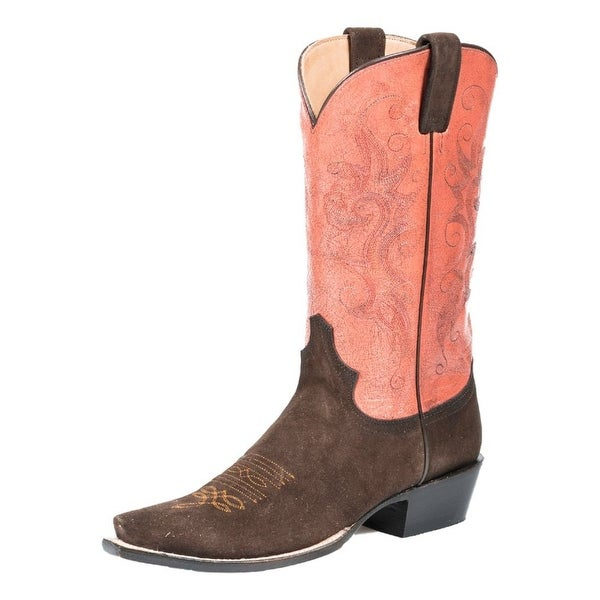 Stetson Western Boots Womens Suede Snip Red