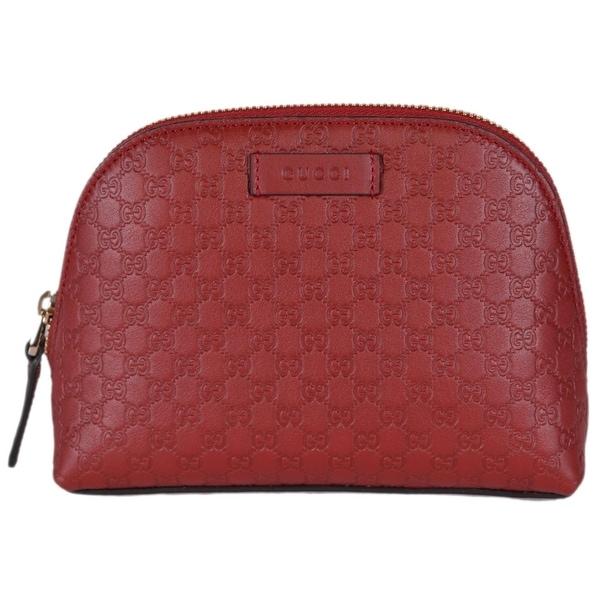 3883364b5826 Shop Gucci 449893 Red Leather Micro GG Guccissima Cosmetic Bag ...