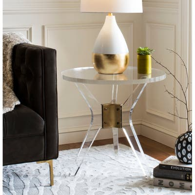 """SAFAVIEH Couture Werner Acrylic End Table- Clear - 23.6"""" W x 23.6"""" L x 22"""" H"""