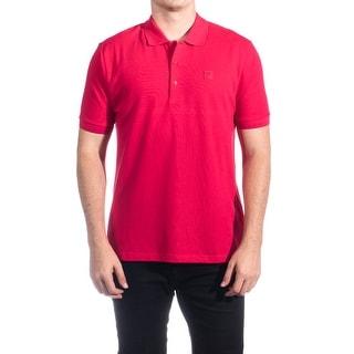 Versace Men's Cotton Medusa Logo Polo Shirt Pink
