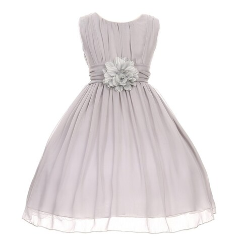 Good Girl Girls Silver Floral Chiffon Junior Bridesmaid Easter Dress