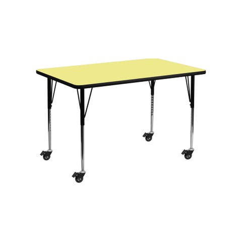 """Offex 24""""W x 48""""L Mobile Rectangular Activity Table with Yellow Thermal Fused Laminate Top and Standard Height Adjustable Leg"""