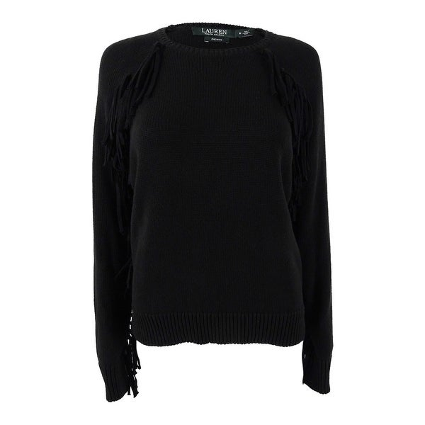 6890c2217 Lauren Ralph Lauren Women's Fringe Cotton Sweater (M, Black) - Black - M