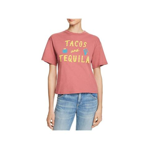 Michelle by Comune Womens Tacos and Tequila Graphic T-Shirt Crew Neck