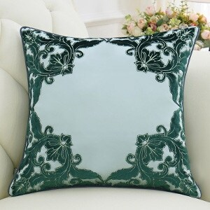 """Luxury Green Detailed Floral Pillow 20""""X20"""""""