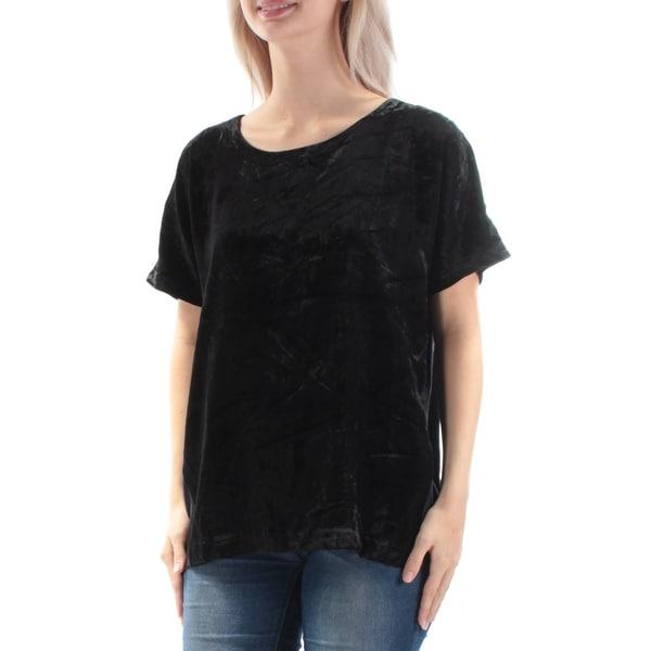 LUCKY BRAND Womens Black Velvet Short Sleeve Crew Neck Top Size: XS