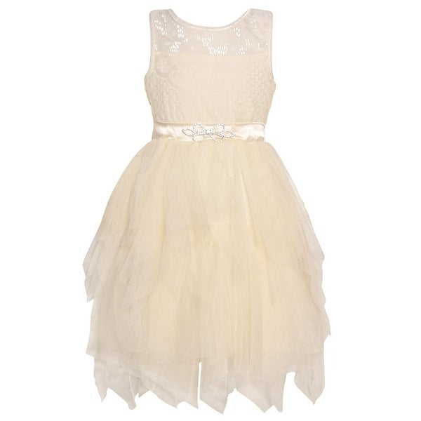 a436e4d51391 Shop Little Girls Ivory Lace Brooch Cascade Ruffle Tea-Length Easter Dress  - Free Shipping On Orders Over $45 - Overstock - 25542280
