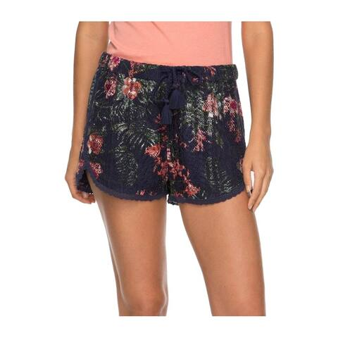 Roxy Navy Women's Floral Print Lace Drawstring Shorts