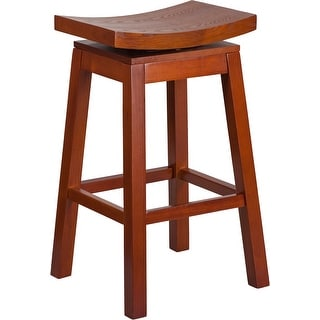 Dyersburg 30'' High Saddle Seat Light Cherry Wood Barstool with Auto Swivel Seat Return