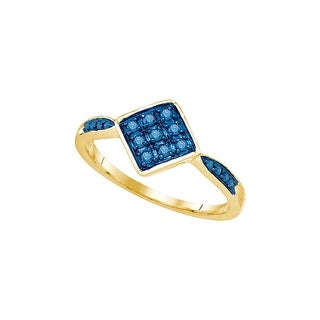 10kt Yellow Gold Womens Round Blue Colored Diamond Cluster Fashion Ring 1/5 Cttw