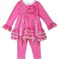 Isobella & Chloe Baby Girls Pink Mesh Flower Olivia 2 Pc Pant Set 6-24M