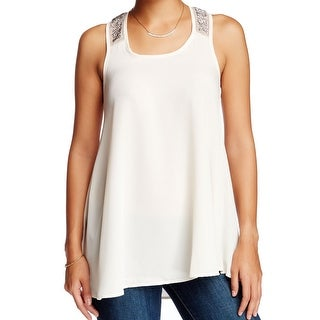 H.I.P. NEW White Ivory Womens Size Small S Embellished Mesh Tank Blouse