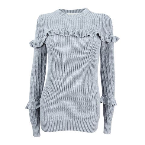 MICHAEL Michael Kors Women's Cotton Ruffled Sweater (XXS, Pearl Heather) - Pearl Heather - XXS