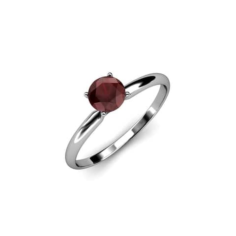 TriJewels Round Red Garnet 5/8 ct Womens Solitaire Engagement Ring 14K Gold