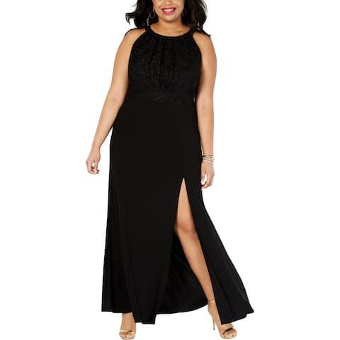 Morgan & Co. Womens Evening Dress Pleated Lace Bodice - Black