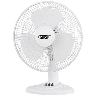 Power Zone FT-40 3-Speed Desk Fan, White, 16""