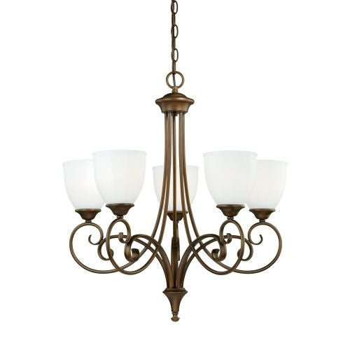 Vaxcel Lighting H0082 Claret 5 Light Single Tier Chandelier with Etched Glass Shades - 24.5 Inches Wide
