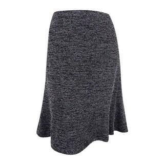 Kasper Women's Plus Size Cotton-Blend Tweed A-Line Skirt - BLACK/WHITE