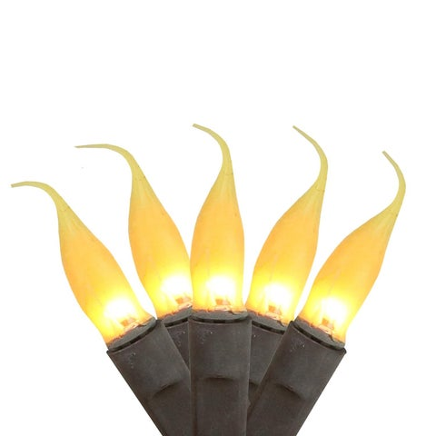 Set of 100 Fireside Amber Mini Silicone Flame Bulb Christmas Lights - Brown Wire