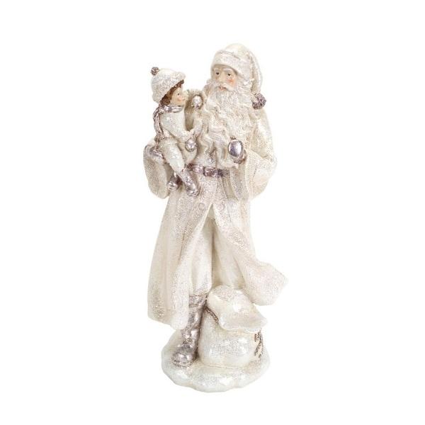 "14"" Winter White Glitter Old World Santa Holding Child Christmas Decoration"