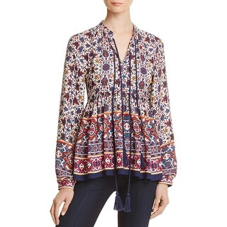 Aqua Womens Peasant Top Printed Chiffon