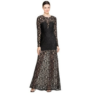 BCBG Maxazria Veira Lace Illusion Long Sleeve Evening Gown Dress - 8