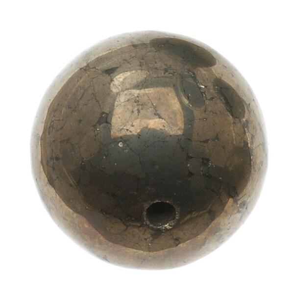 Gemstone Pyrite Fool's Gold 16mm Round Beads - (4 Beads)