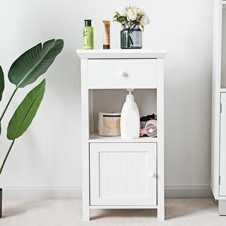 Gymax Bathroom Floor Storage Cabinet Cupboard Organizer Storage Drawer W/Door White