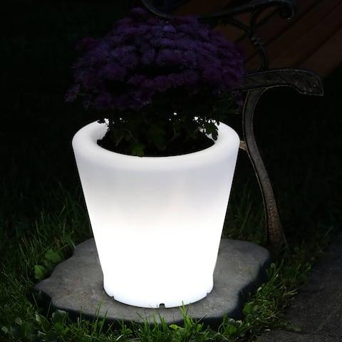 Sunnydaze LED Color-Changing Flower Pot - Rechargeable - RGB - 12-Inch Diameter