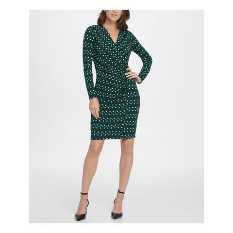 DKNY Green Long Sleeve Above The Knee Sheath Dress Size 2