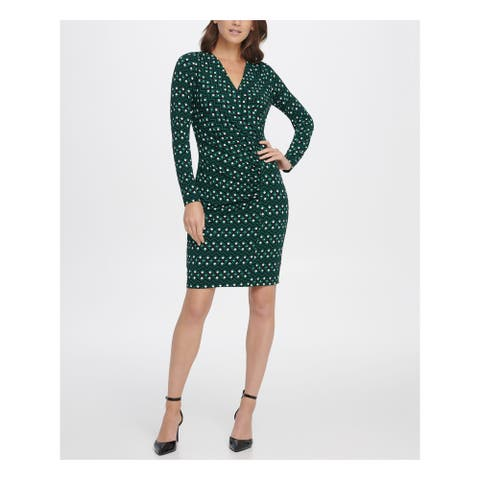 DKNY Green Long Sleeve Above The Knee Sheath Dress Size 8