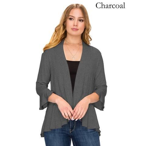 Simply Ravishing Women's Flare Hem 3/4 Bell Sleeve Cardigan